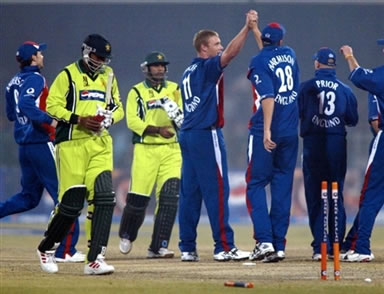 Andrew Flintoff celebrates after taking a wicket