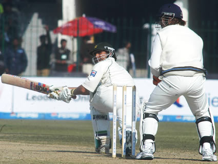 Younis Khan plays a sweep shot