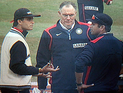 Concerned Saurav Ganguly looks on