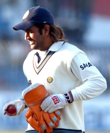 Dhoni collected the ball as souviner