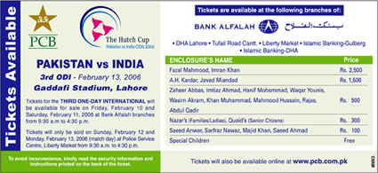 PCB advertisement for Lahore ODI, tickets