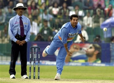 Sachin Tendulkar delivers a ball