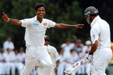 Kulasekera celebrates the dismissal of Imran Farhat