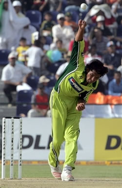Mohammad Asif delivers a ball