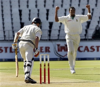 Ntini celeabrates after taking a wicket