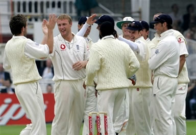 Flintoff celebrates the dismissal of Jayawardene
