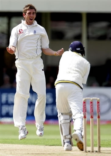 Plunkett celebrates the dismissal of Jayawardene