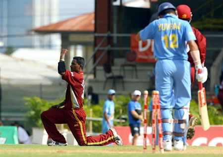 Mohammed celebrates the dismissal of Yuvraj