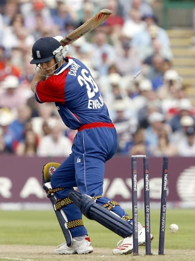 Cook is bowled