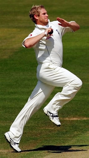 Matthew Hoggard runs up to bowl